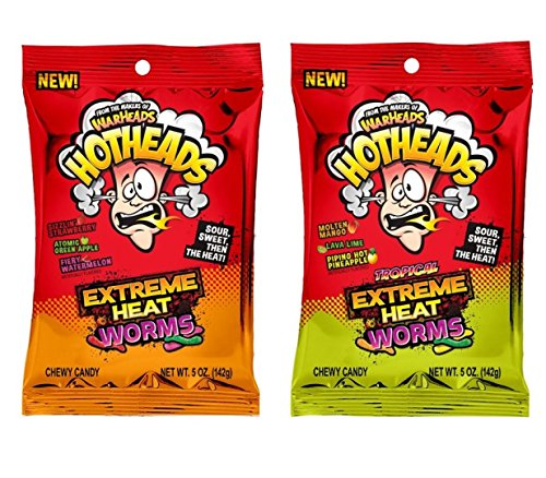 Warheads Hotheads Extreme Heat Worms & Tropical Extreme Heat Worms 1 Of Each (5oz Bags)
