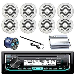 "JVC Marine Boat Radio Stereo Player Receiver Bundle Combo with 8 x Magnadyne 5"" White Waterproof Speakers 400-Watt Car/Marine Amplifier, Enrock Radio Antenna, 50ft 16g Speaker Wire"