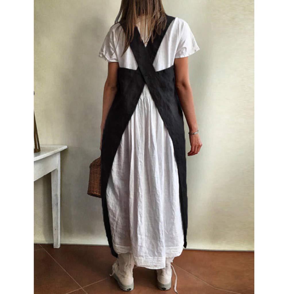 Damen Kleider Lurcardo L/ässiges Bettw/äsche aus Baumwolle Sch/ürze Kreuz Sch/ürze Gartenarbeit /Ärmellos Midikleid