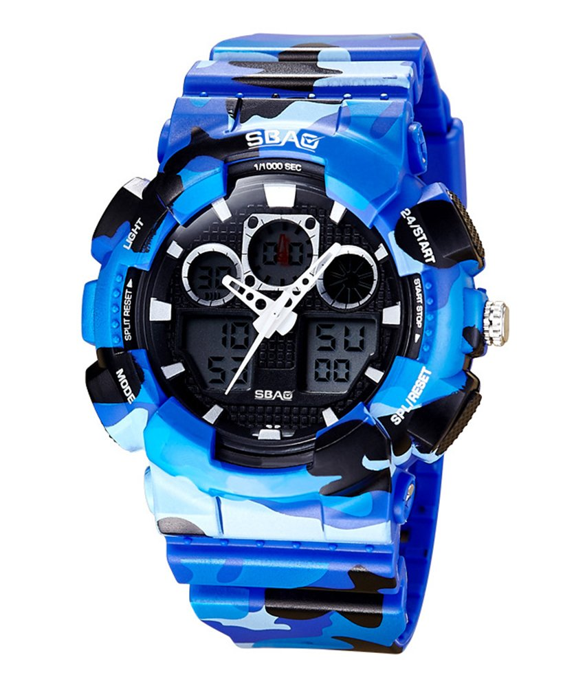 Cheamlion Boys Blue Cool Camouflage Waterproof Analog Digital Watch