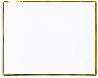 "Sugar & Cloth SC35PSGS125 5.5"" Rectangle 24 Piece Dessert Plate, White/Gold"