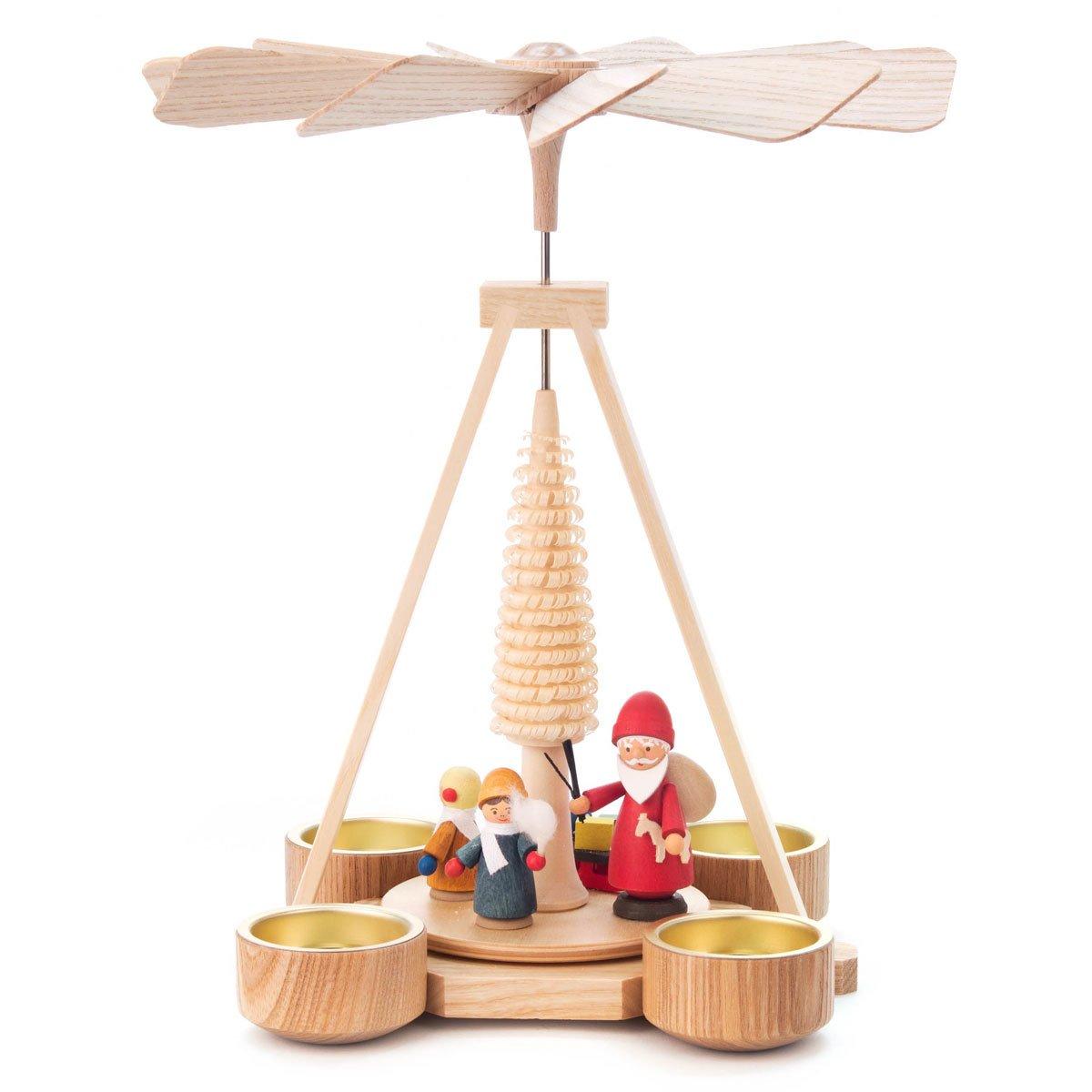 St. Nicholas's Workshop Tea Light Wood Christmas German Pyramid - Stands 9 3/4 Inches Tall - Christmas Carousel