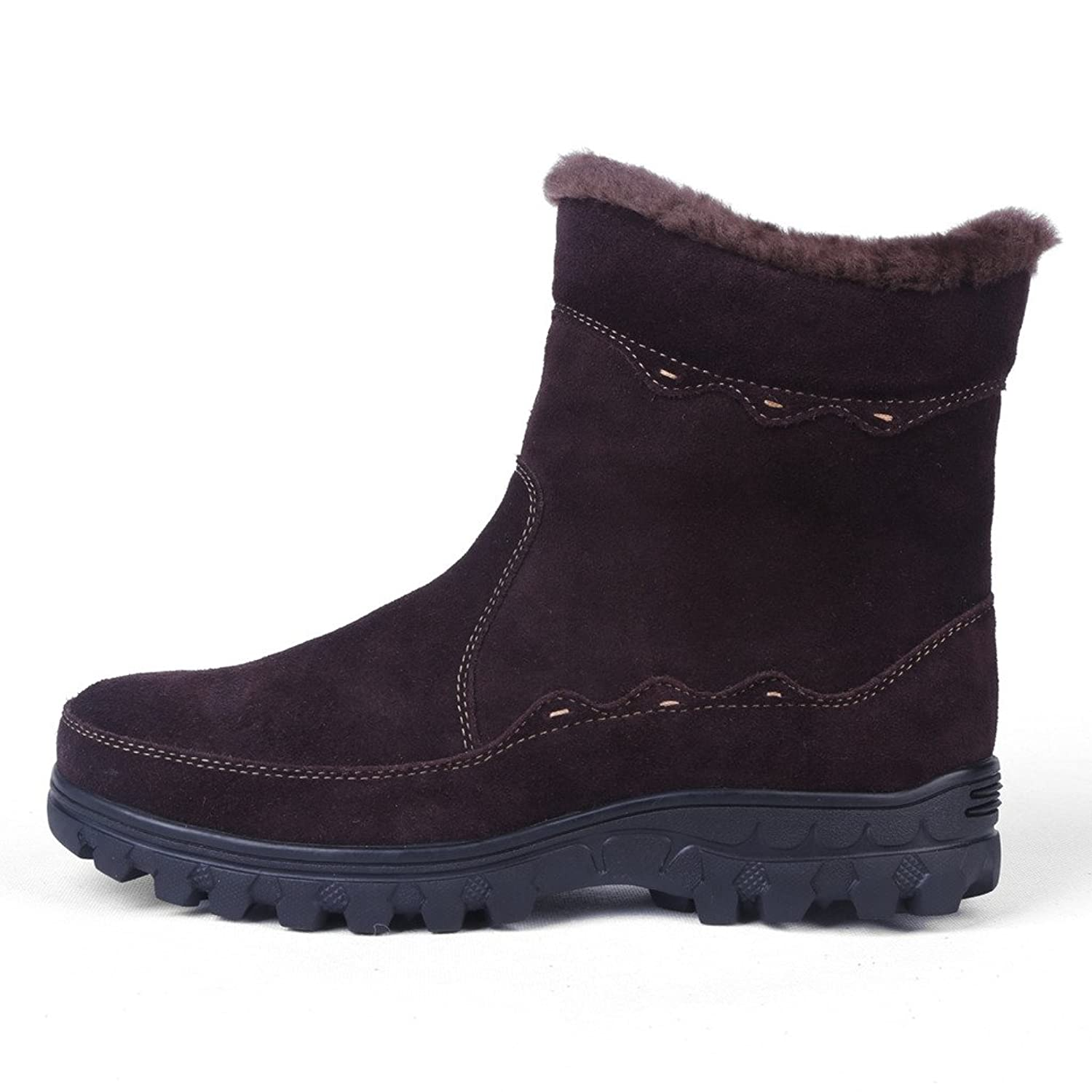 Bull Titan Women Non-slip Snow Boots Fur Lined Winter Shoes Suede Leather