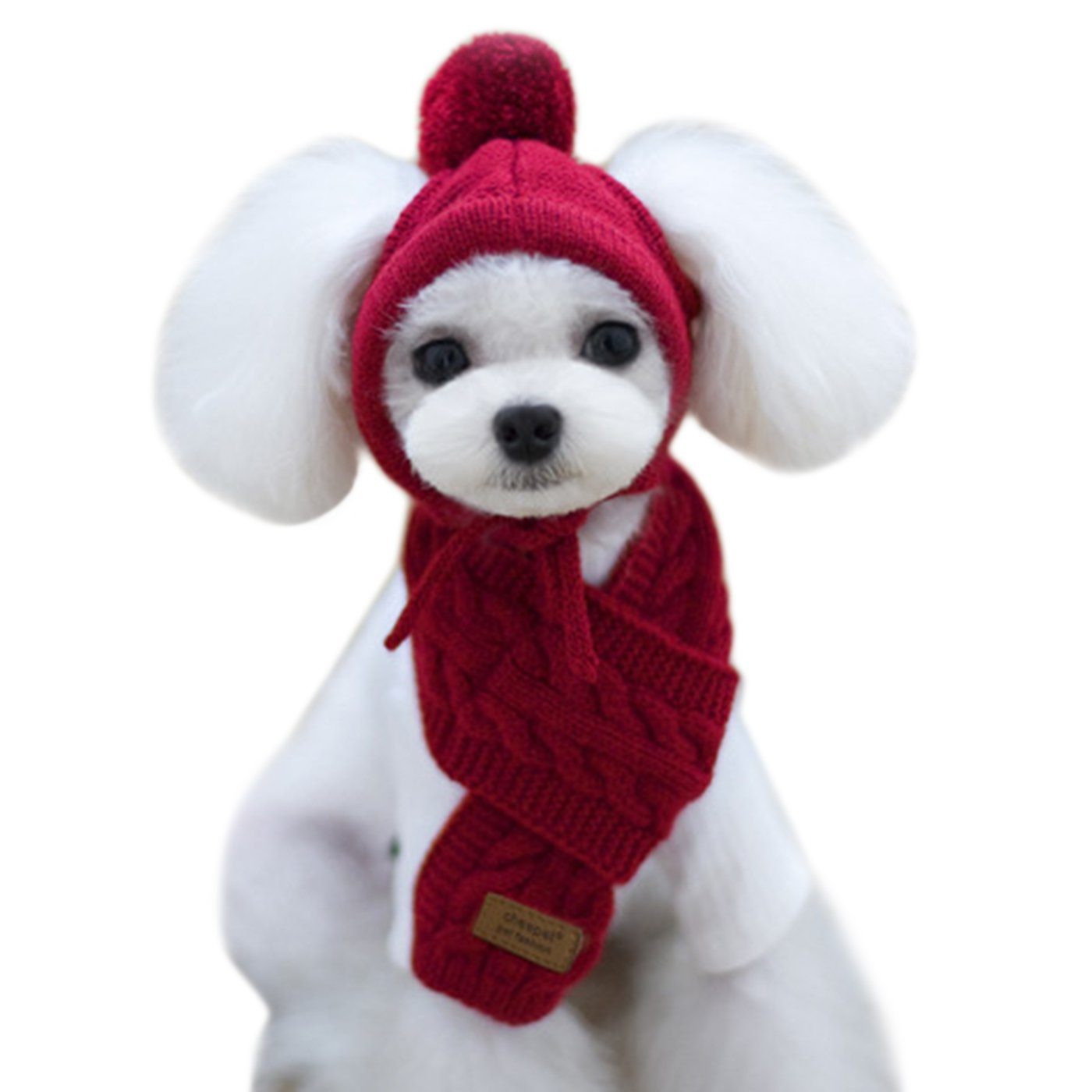 Alfie Pet by Petoga Couture - Bryn Winter Scarf and Hat Set for Dogs and Cats - Color: Burgundy, Size: Small