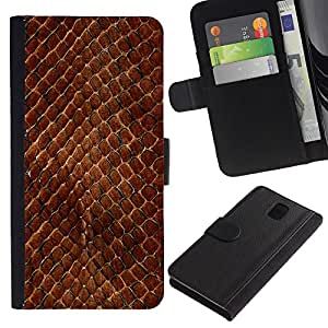 """Samsung Galaxy Note 3 III N9000 N9002 N9005 , la tarjeta de Crédito Slots PU Funda de cuero Monedero caso cubierta de piel ("""" Snake Skin Pattern Brown Scales Reptile Art"""")"""
