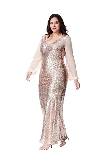 ce2d438dfc Goddiva Long Loose-Sleeved Sequin Chiffon Maxi Dress  Amazon.co.uk  Clothing