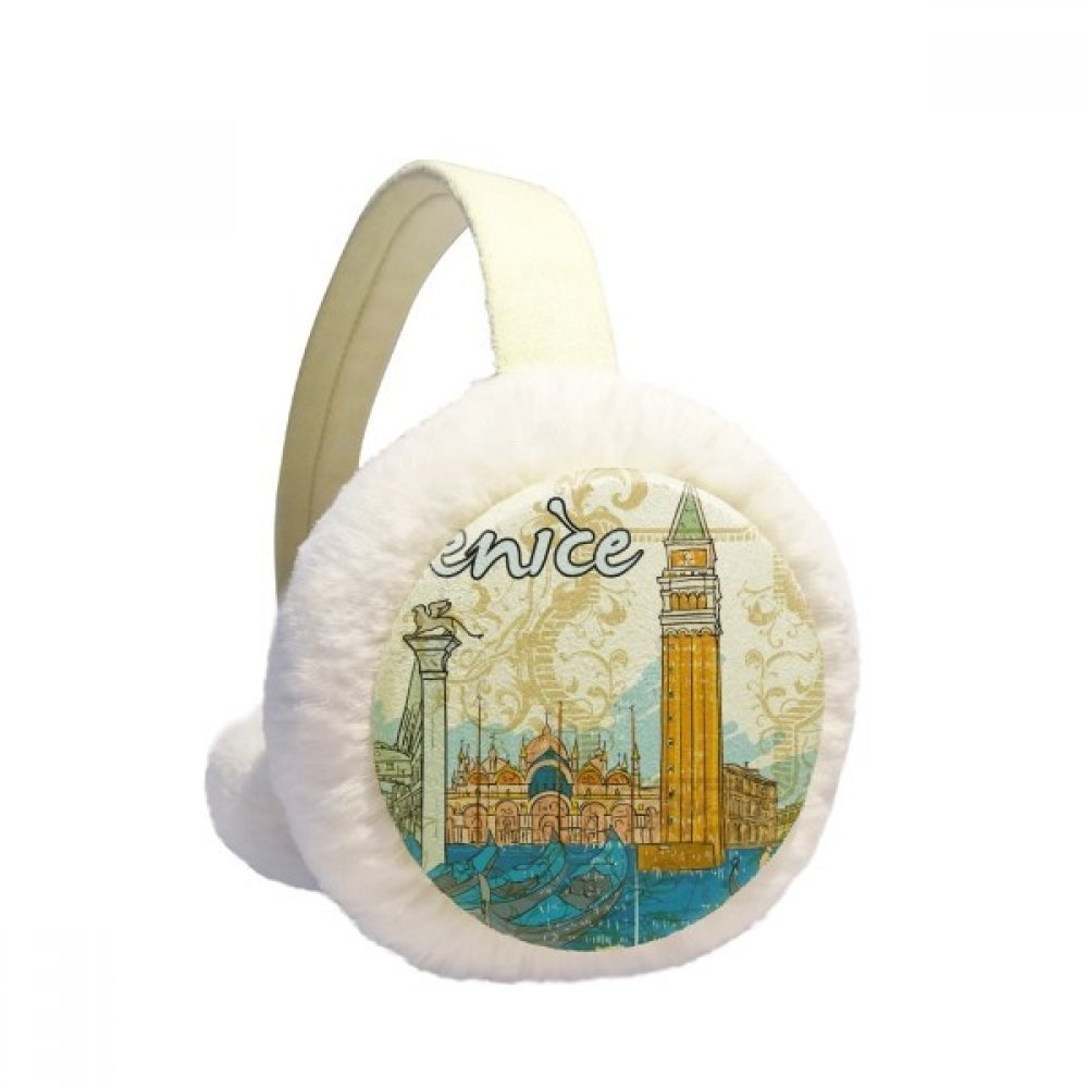 Italy Venice Landmark National Illustration Winter Earmuffs Ear Warmers Faux Fur Foldable Plush Outdoor Gift