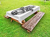 Ambesonne Hamsa Outdoor Tablecloth, Arabian Art in Black and White Eastern Icon Crescent Moon and Star All Seeing Eye, Decorative Washable Picnic Table Cloth, 58 X 104 inches, Black White