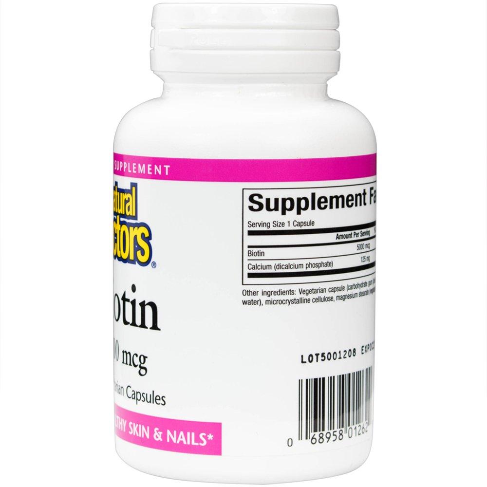 Amazon.com: Natural Factors - Biotin 5000mcg, Promotes Healthy Hair & Nails, 60 Vegetarian Capsules: Health & Personal Care