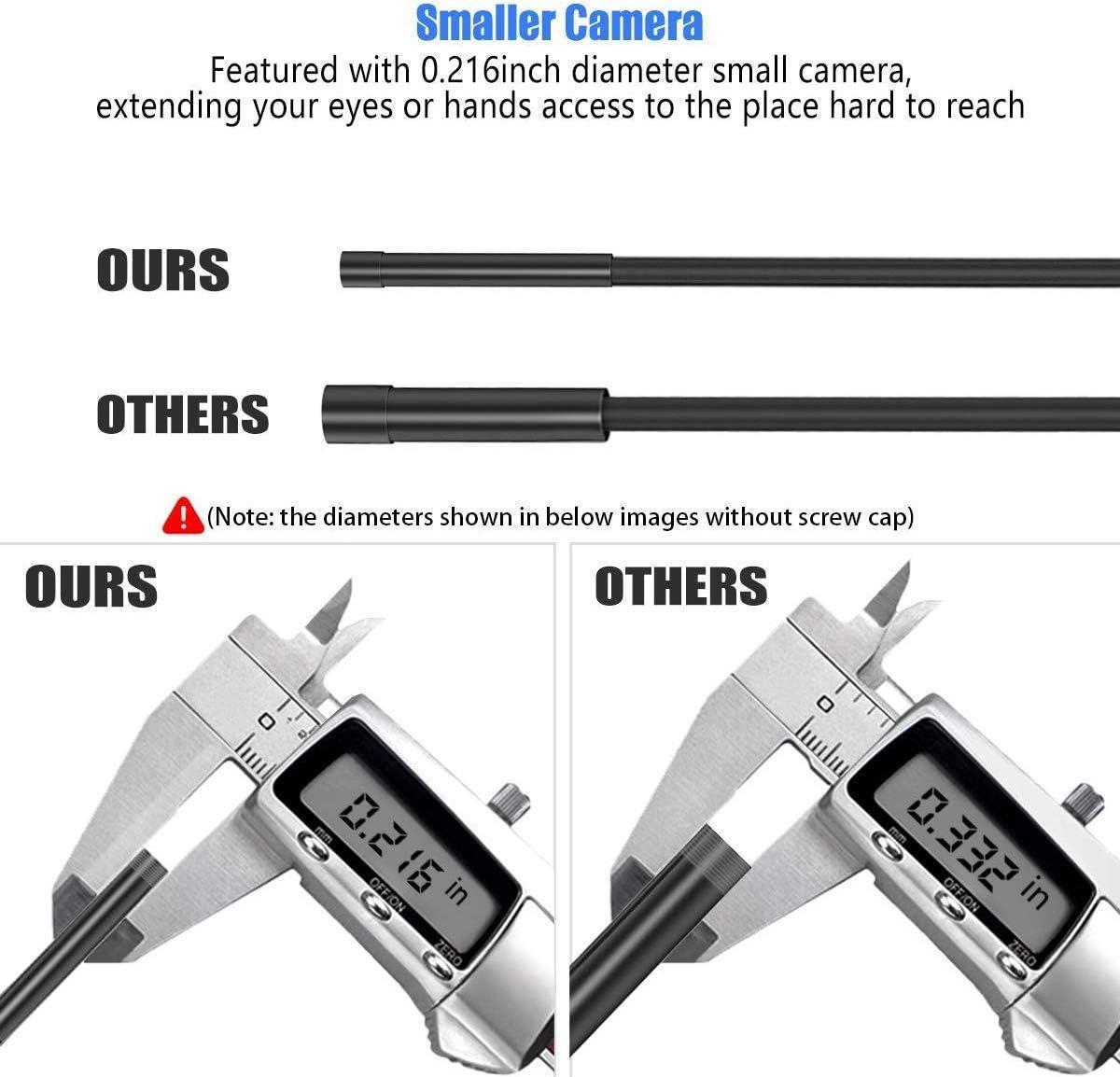 5,5mm Di/ámetro 5M Semirr/ígido Cable KZYEE WiFi Endoscopio 2,0 MP 1080P HD C/ámara de Inspecci/ón Reinicializaci/ón Impermeable para Android iOS Smartphone iPhone Samsung Tablet