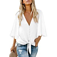 Women's V Neck Tops Ruffle 3/4 Sleeve Tie Knot Blouses Button Down Shirts