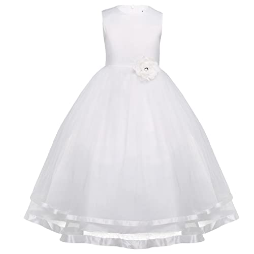 YiZYiF Kids Girls Tulle Satin Formal Party Christening Wedding Bridesmaid Ball Gown Flower Dress