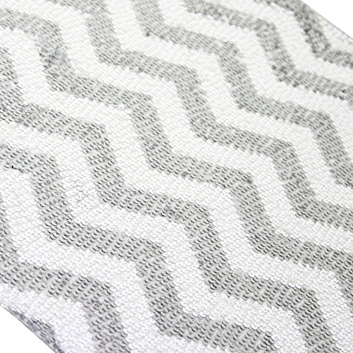 Koyal Wholesale 405012 Sequin Chevron Table Runner, 22 by 120-Inch, Silver]()