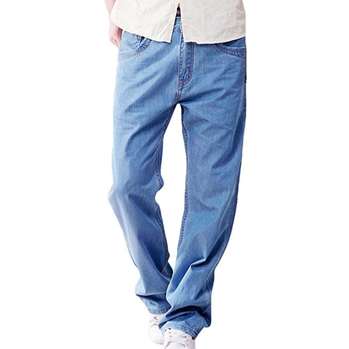 NiSeng Hombre Pantalones Vaqueros Casual Directamente Loose ...