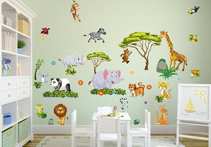 060 Wandtattoo Wanddekoration Dschungel Tiere L/öwe Elefant Koala Panda Giraffe Zebra 750 x 420 mm in 6 Gr/ö/ßen Kinderzimmer Sticker Wandaufkleber niedliche Wandsticker Wanddeko Wandbild Junge M/ädchen nikima