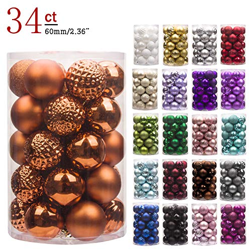 KI Store 34ct Christmas Ball Ornaments Shatterproof Christmas Decorations Tree Balls for Holiday Wedding Party Decoration, Tree Ornaments Hooks Included 2.36