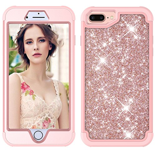 iPhone 7 Plus/8 Plus Case,Heavy Duty Slim Sparkle Bling Glitter Case 3 in 1 Thin Cover Case Shinning Three Layer Full Protective Rubber Bumper Shell with Front Cover for Apple iPhone 7+/8+,Rose Gold