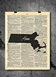 Massachusetts State Vintage Map - 1900's Vintage Dictionary Print 8x10 Inch - QUALITY PRINTS - Focusing on making quality prints for the Home & Office. This 8x10 print is Ready-To-Frame and will fit perfectly in any Frame with Mat when delivered....