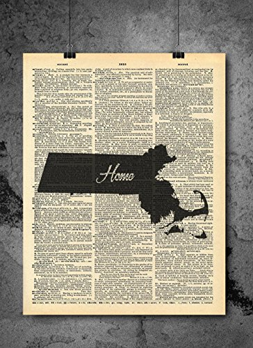 Massachusetts State Vintage Map Vintage Dictionary Print 8x10 inch Home Vintage Art Abstract Prints Wall Art for Home Decor Wall Decorations For Living Room Bedroom Office Ready-to-Frame Home