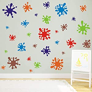 TOARTi Multicolor Paint Wall Decal (112pcs), Splatter and Splotches Wall Sticker for Classroom Decoration, Primary Color Paint Splash Room Decor Ink Splotch Wall Stickers