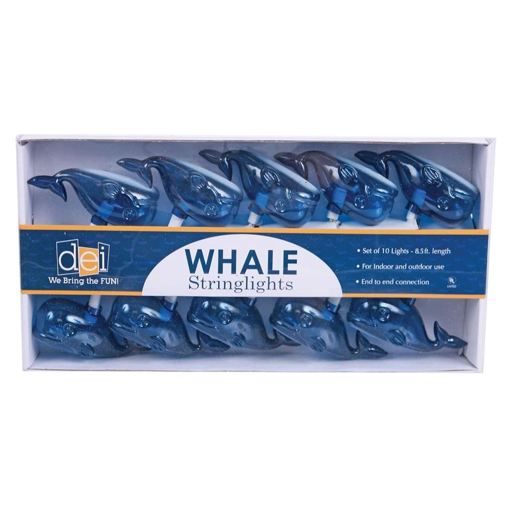 DEI Whale String Lights Blue 8.5'L 10 Count