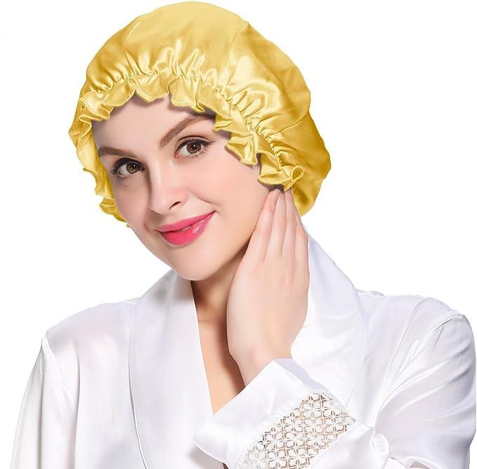 LilySilk Seide Schlafm/ütze Atmungsaktive Nachtm/ütze Kopfbedeckung mit klassischer und bequemer Form Verpackung MEHRWEG