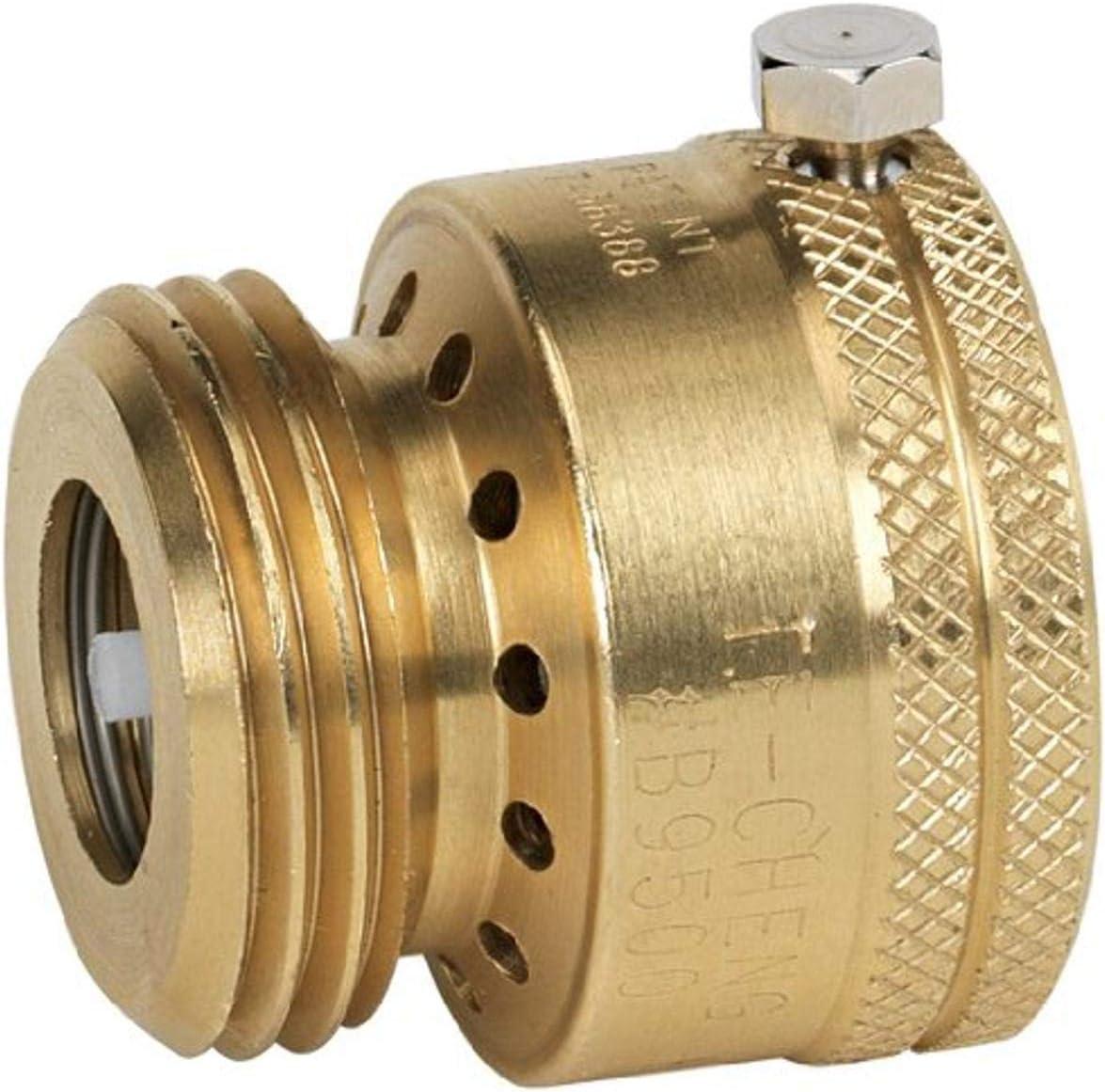 Homewerks Worldwide VACBFPZ4B Vacuum Breaker Hose Bib Backflow Preventer, 3/4 Inch, Brass Finish - Backflow Preventer -