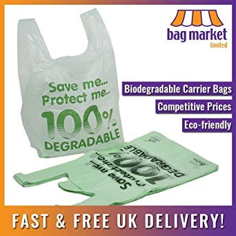 100 bolsas de transporte biodegradables grandes (11 x 17 x 21 ...