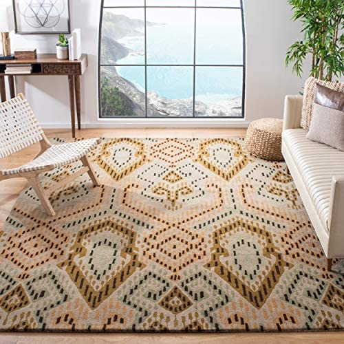 Safavieh Wyndham Collection WYD373A Handmade Brown and Ivory Wool Area Rug