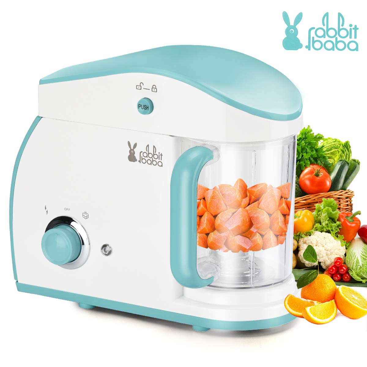 Rabbit baba Baby Food Maker, Fashion Look Baby Food Processor with Touch Screen Control, Quick Clean Multifunctional Baby Food Blender, Steamer, Cooker, Defrost for Infants and Toddlers Food