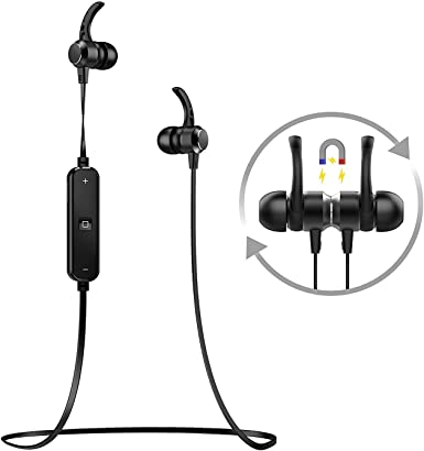 Amazon Com Wascc Bluetooth Headphones In Ear Sweatproof Headphones With Mic For Running Gym Workout Black Black Clothing