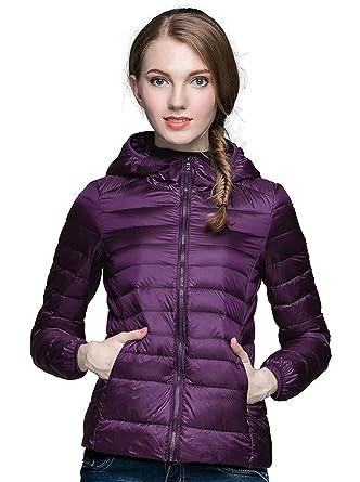 5268526636fb7 Sunseen Women's Puffer Jacket Lightweight Thin Down Coat Hooded Packable  Spring Outdoor Sports Slim Parka Outerwear