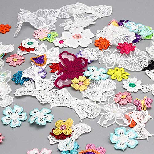30g 1-12cm Random Mix Style Flower Bow Butterfly Applique Embroidered Organza Lace Patches Badge (Random Mixed 1)