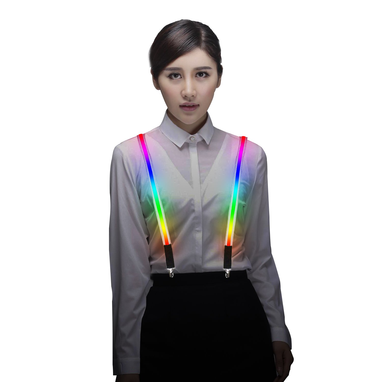 Light Up LED Suspenders Adjustable One-size for Party Concert Men&Women - Rainbow