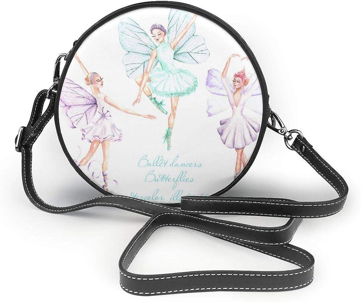Wrution Ballet bailarinas de acuarela con alas de mariposa, bolsa de hombro con cierre de cremallera redondo, bolso de cuero suave, para mujer