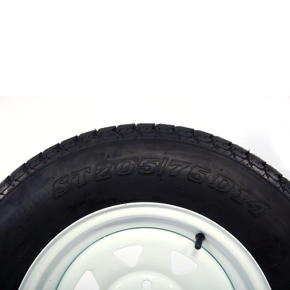 5x4.5 Motorhot 2X 14 White Spoke Trailer Wheel Bias ST205//75D14 Tire and Rim 5 Lugs on 4.5 Bolt Circle LRC 6 Ply