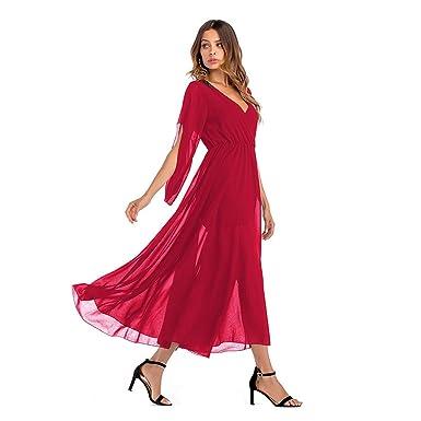 KAMA BRIDAL Women s Summer V Neck Red Chiffon Maxi Party Dress at ... 91375ad27c