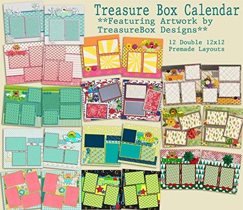 Treasure Box Calendar Scrapbook Set - 12 Double Page Layouts