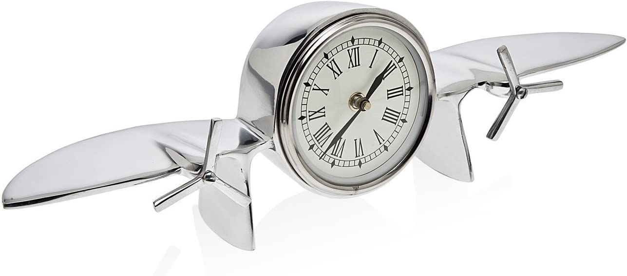 Godinger Vintage Inspired Stainless Steel Airplane Roman Numeral Clock