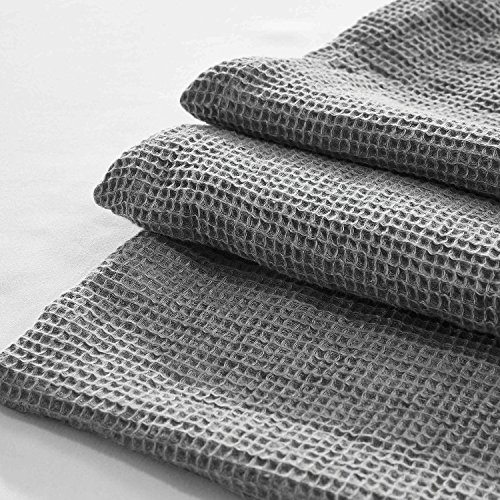 YUE Home Textile Linen Waffle Blanket, King, Grey