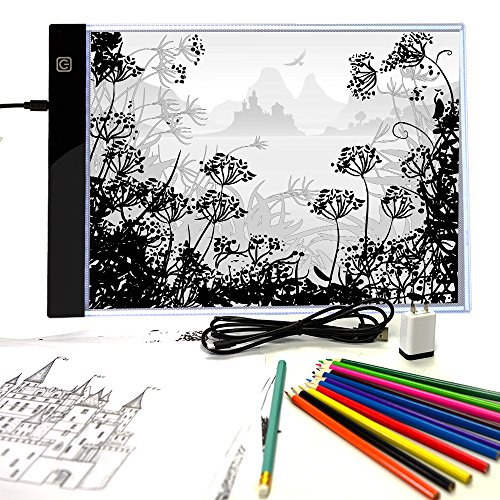 Pinwheel Crafts Light-Up Tracing Pad, Super Thin Pad with Ultra Bright LED Light for Tracing, Mix and Match Fairy Tale Designs, Includes 12 Colored Pencils & 10 Blank Sheets, Coloring Board for Kids