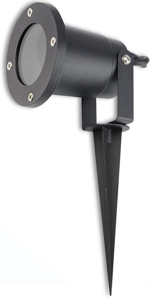 Foco de jardín IP54 GU10 sin lámpara para uso exterior - negro - aluminio mate con estaca de