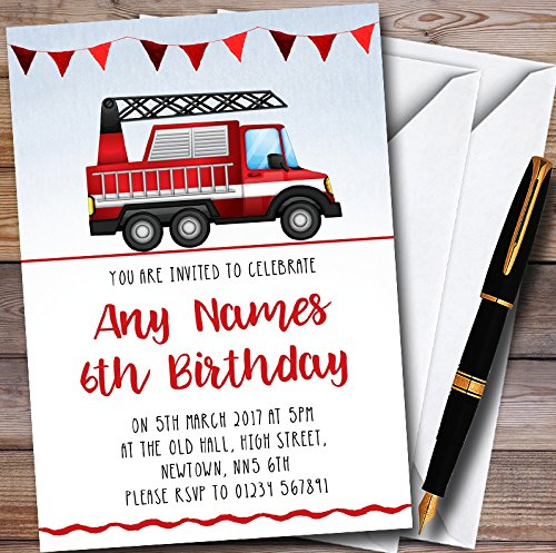 10 x Watercolour Fire Engine Personalized Childrens Birthday Party Invitations ()