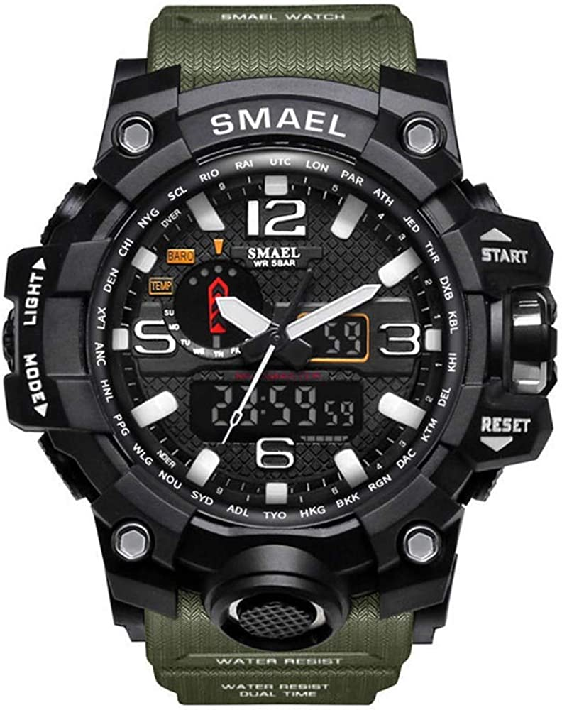 SMAEL Hombre Deporte Relojes Dual Display Analógico Digital LED Electrónico Wrist Relojes