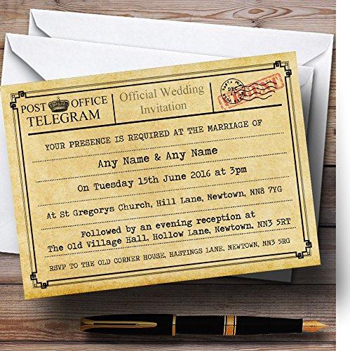 Vintage Telegram Typewritten Personalized Wedding Invitations (Best Wedding Telegram Messages)