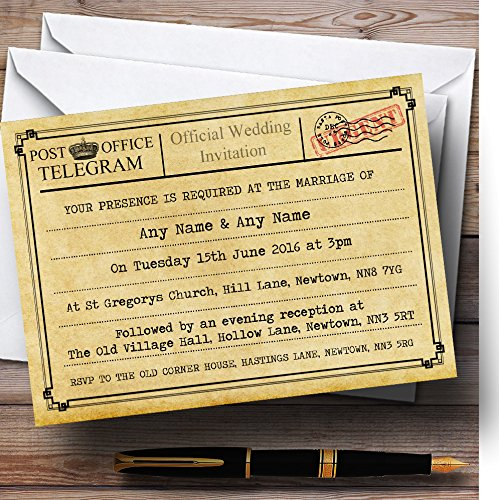 Vintage Telegram Typewritten Personalized Wedding Invitations