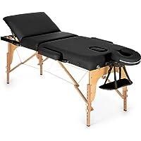 Klarfit MT 500 lettino da massaggio portatile (210cm, peso massimo 200 kg, due poggiatesta, schienale 10 regolazioni, apertura viso, ripiegabile, con borsone) - nero