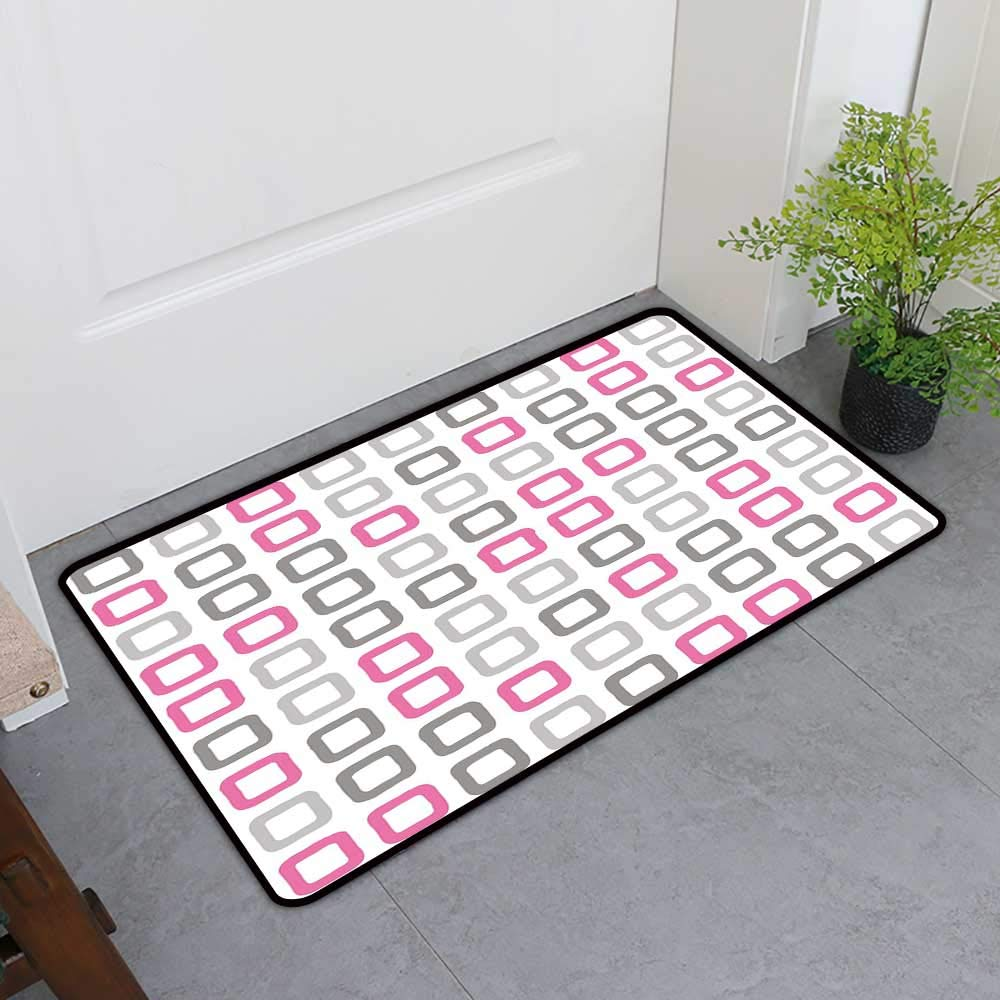 Custom&blanket Welcome Front Mat, Geometric Decorative Doormats for Bedroom, Artsy Square Frames in Vintage Colors Geometric Pale Toned Illustration (Pink White Grey, H36 x W60)