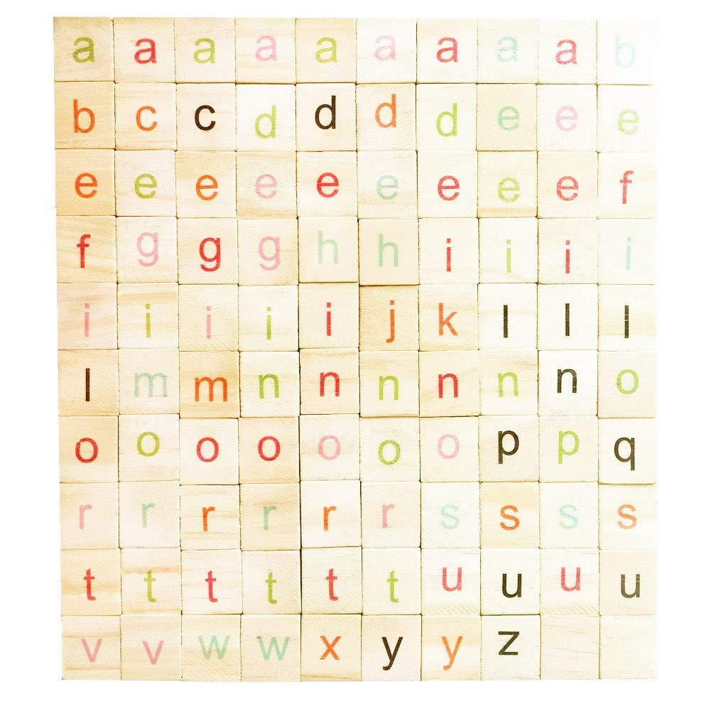 Abbaoww 100 Pcs Colorful Wooden Scrabble Tiles Letter Alphabet Scrabbles Crafts English Letter for Crafts and DIY Wood Gift Decoration