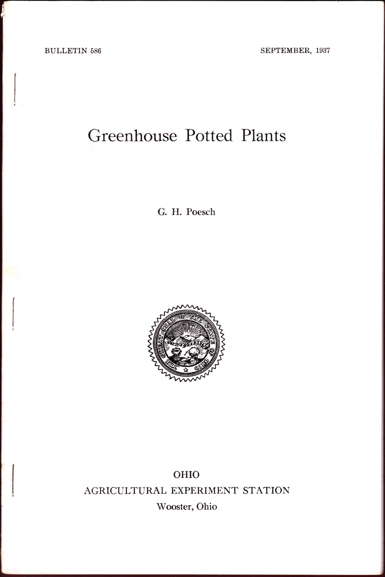 Greenhouse Potted Plants (Ohio Agricultrual Experiment Station, Bulletin 586)